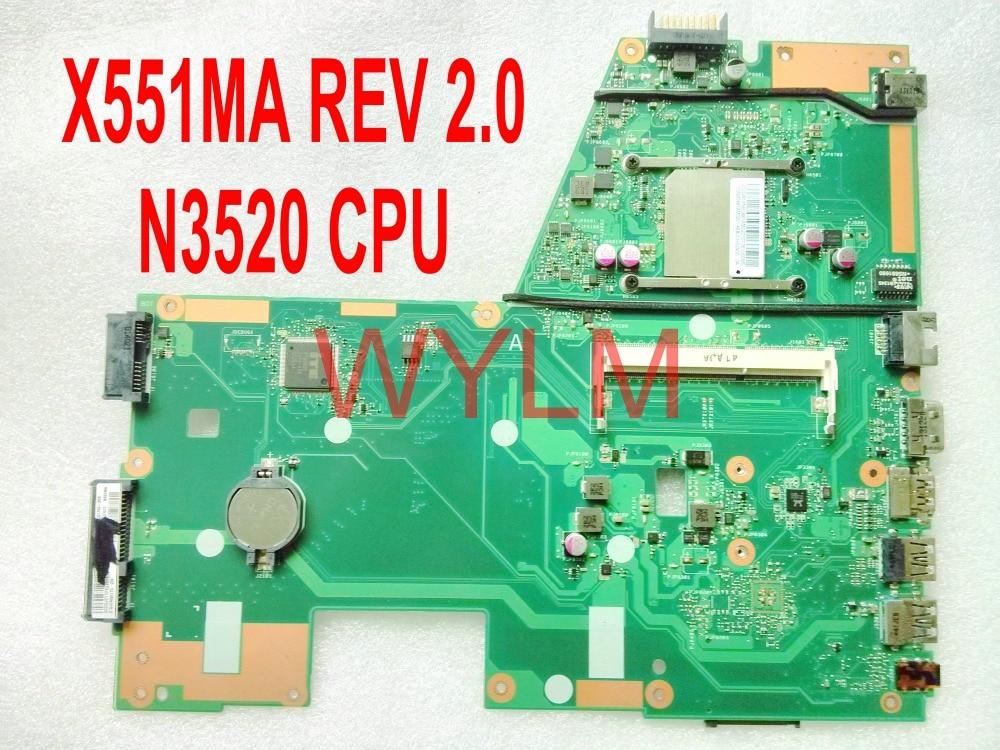 free shipping original X551MA motherboard MAIN BOARD REV 2.0 N3520 CPU 100% Tested худи print bar acid wave