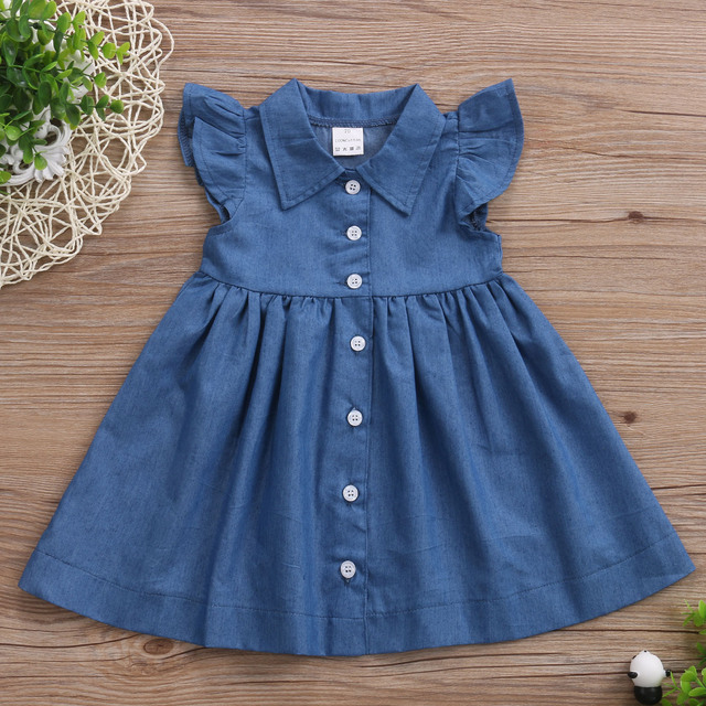 c33ee44926 Infant Toddler Baby Kids Girl Sleeveless Princess Summer Sundress Party Jeans  Dress Clothes