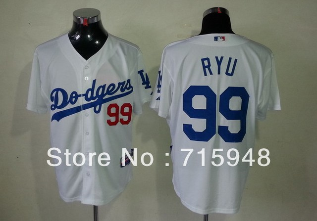New Baseball Jerseys Dodgers  99 Ryu Jersey White Color Cool Base Jersey  Stitched Size 48 9e72067ecfa