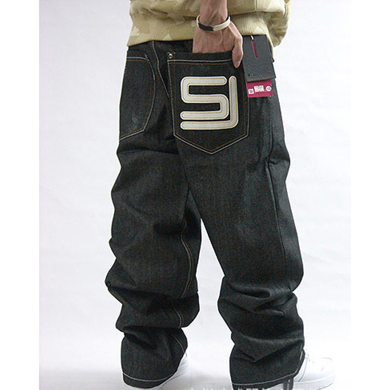 Men's Black Baggy   Jeans   Hip Hop Designer Brand Skateboard Pants loose Style Plus Size 30-44 True HipHop Rap   Jeans   Boy