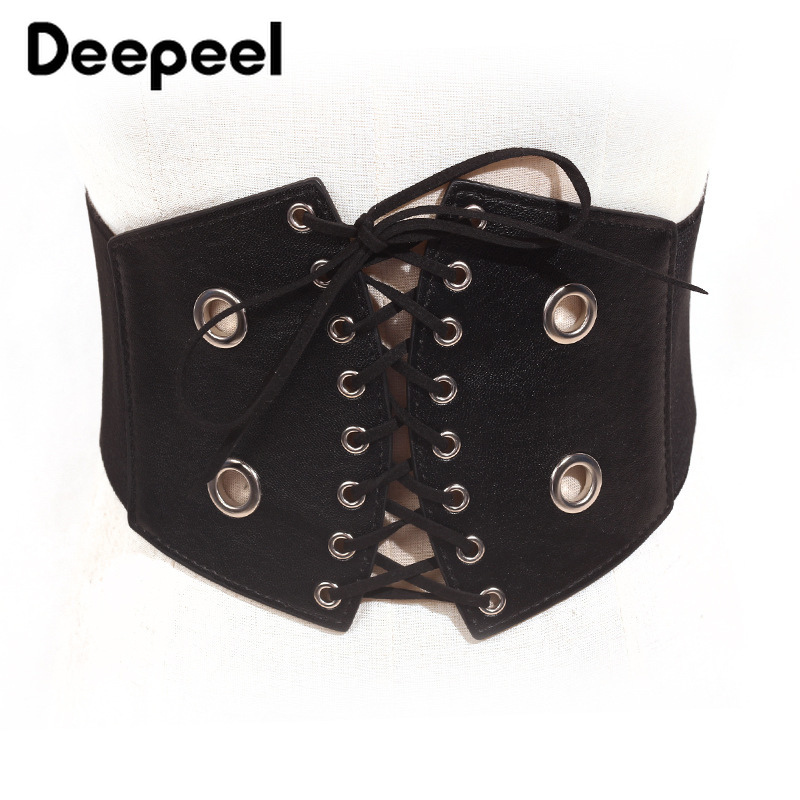 Deepeel 1pc 66cm Personality Fashion Woman PU Cummerbunds Casual Wild Strap Tassel Elastic Wide Belt Leather Crafts Decoration