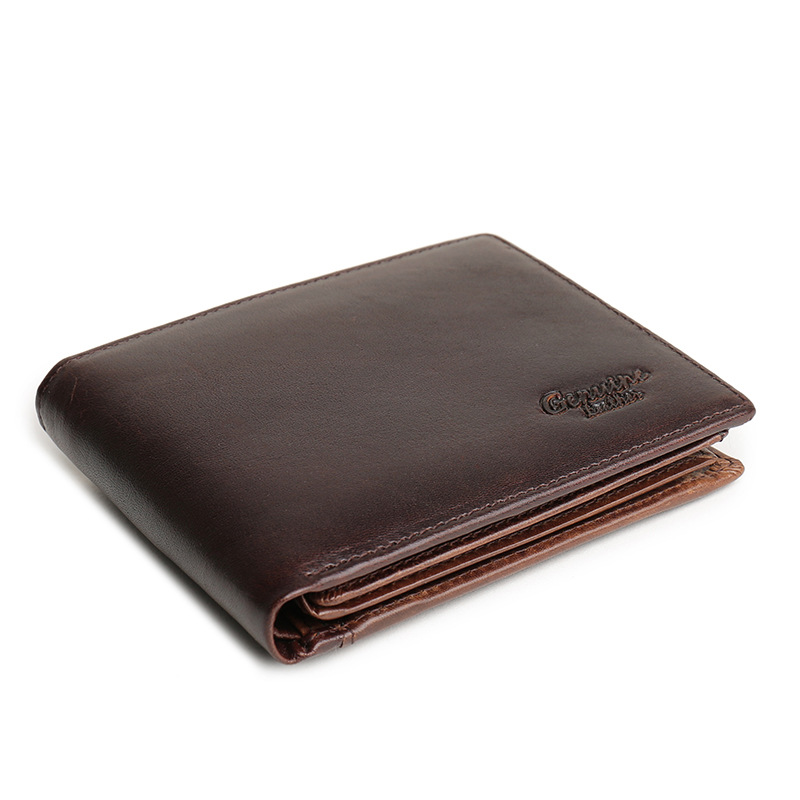 HENGSHENG cow leather men wallet with quality genuine leather short men wallet for fashion business men cross wallet - 2