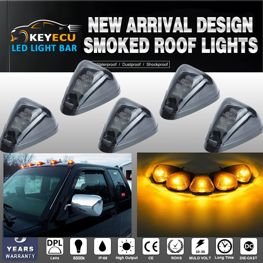 5pcs Black Smoked Lens Amber LED Cab Roof Top Marker Lamp Clearance Running Light For 1999-2016 Ford E//F Smoked Lens /& Amber LED