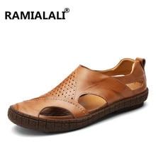 Сандалии из натуральной кожи; мужская обувь ручной работы; летняя кожаная обувь; пляжные сандалии наивысшего качества с мягкой подошвой