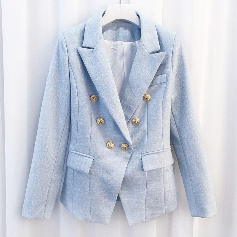 Newest 2019 Baroque Designer Blazer Women's Breasted Color Gold Metal Lion Buttons Double Blazer Jacket