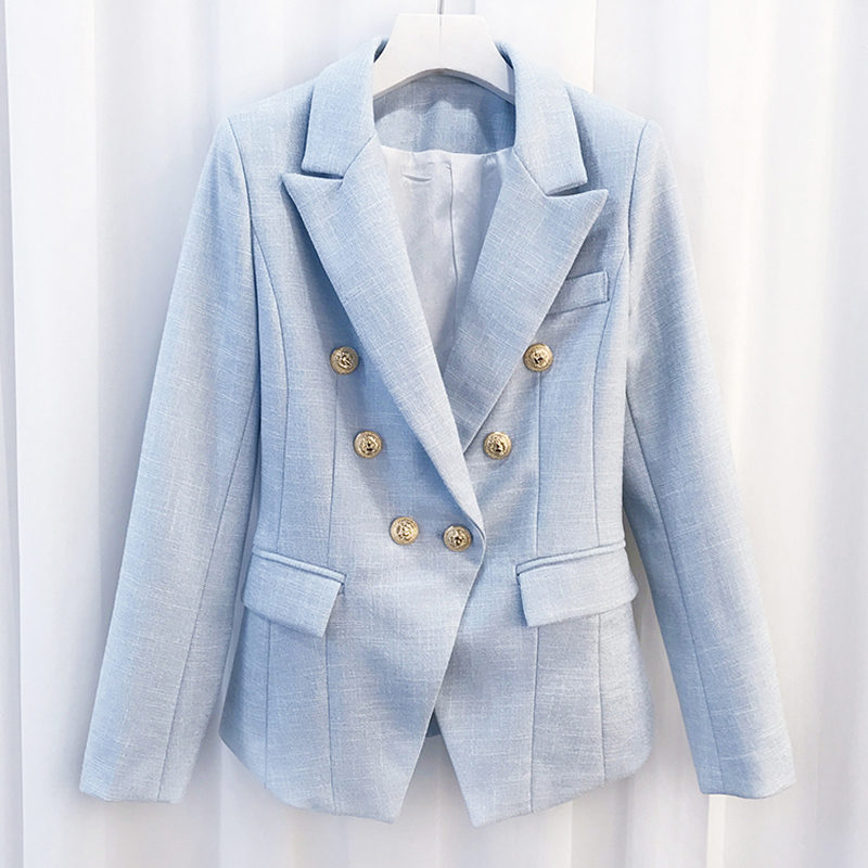 Newest 2020 Baroque Designer Blazer Women's Breasted Color Gold Metal Lion Buttons Double Blazer Jacket