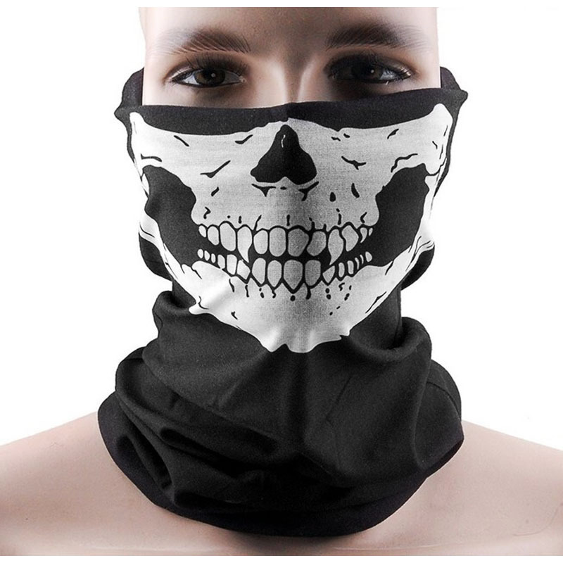 Halloween Skull Party Scarves Mask Masquerade Mardi Gras Black Neck Scary Motorcycle Multi Function Headwear Masks Neckwear(China)