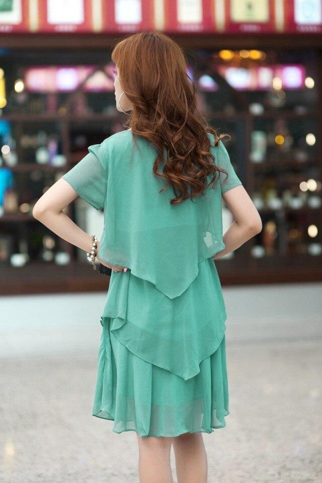 Vestido De Festa Summer Dresses 5XL Plus Size Women Clothing ropa mujer 18 Chiffon Dress Party Short Sleeve Casual Blue Black 21