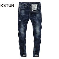 KSTUN Jeans Men Skinny Dark Blue Stretch Winter Jeans 2019 Fashion Brand Distressed Ripped Hip Hop Streetwear Male Biker Jeans 21
