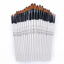 12 pçs/set caneta de pincel de tinta de nylon, alça de madeira, conjunto de canetas para pintura de aquarela, pintura acrílica e aprendizagem diy, suprimentos de pincéis de tinta de arte