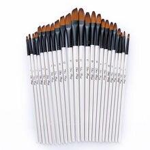 Ensemble de stylos et pinceaux à aquarelle avec manche en bois, poils en Nylon pièces/ensemble, apprentissage de la peinture acrylique à l'huile, bricolage, fournitures de pinceaux d'art