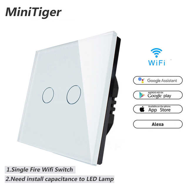 Minitiger WIFI Smart 2 Gang Touch Switch APP Wireless Remote Light Wall Switch Crystal Glass Panel Work With Alexa / Google Home