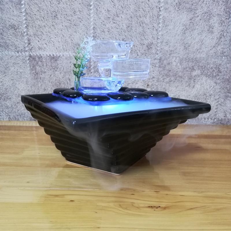 เซรามิค/แก้วน้ำ Fountain Indoor Desktop Air Humidifier Fengshui เครื่องประดับตกแต่งบ้าน-ใน รูปแกะสลักและรูปจำลอง จาก บ้านและสวน บน   2