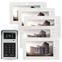 DIYSECUR 7 pouces 1024x600 HD TFT LCD Écran Vidéo Porte téléphone Vidéo Interphone Sonnette Lecteur RFID + Mot de Passe HD Tactile Caméra 1V5