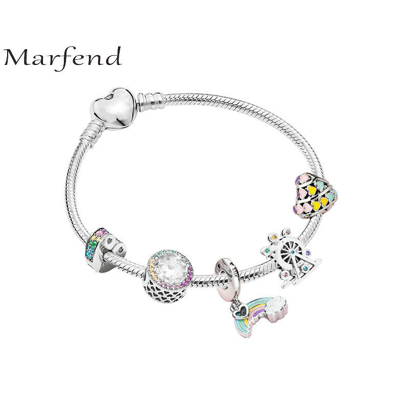 Marfend 925 silver bracelet rainbow heart shape Fit Original Pandora Bracelet Women DIY Jewelry love Gifts