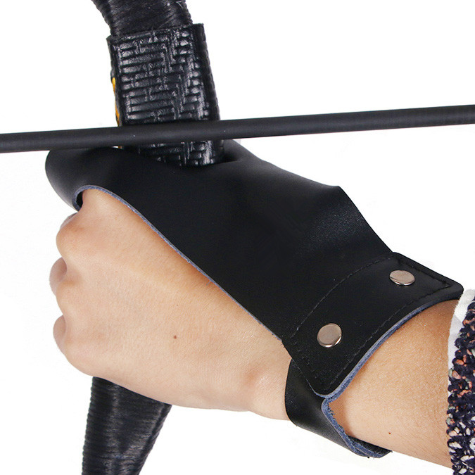 Leather Hand Gloves Bow And Arrow Practice Hand Guard Arm Handstitched Durable F