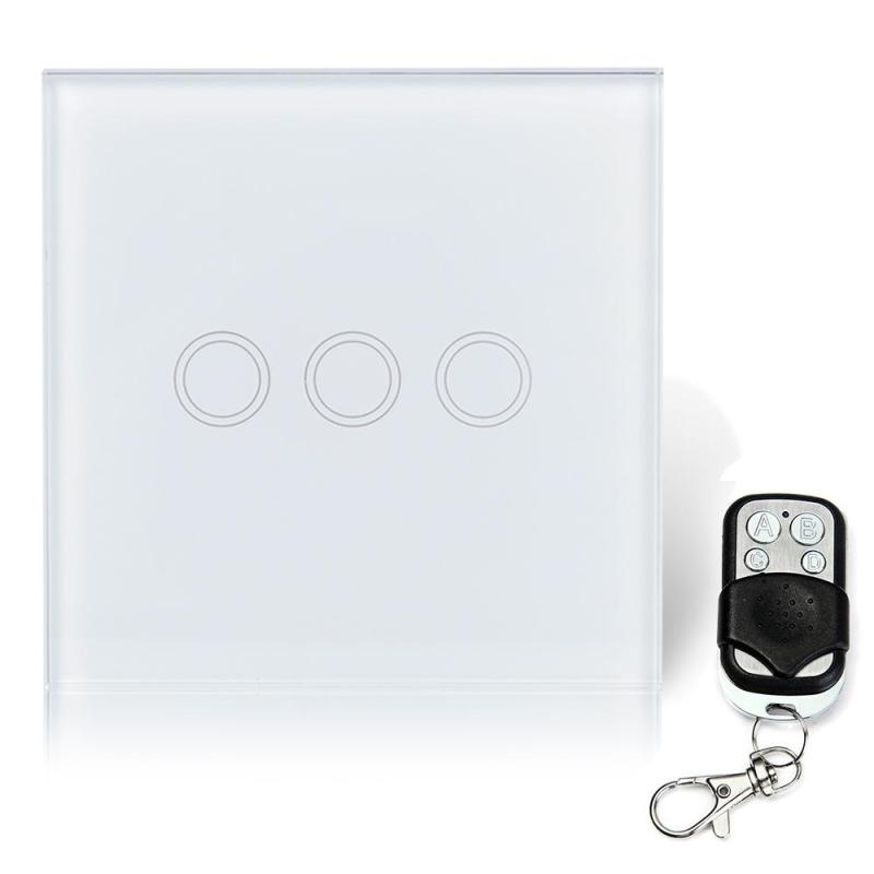 EU Plug 433MHZ RF Smart Home Switch 3 Gang Waterproof Crystal Tempered Glass Touch Button Wall Light Switch With Remote Control vhome eu uk smart home dimmer switch glass panel wall light wall touch dimmer switch for dimmable spot lights rf 433mhz remote