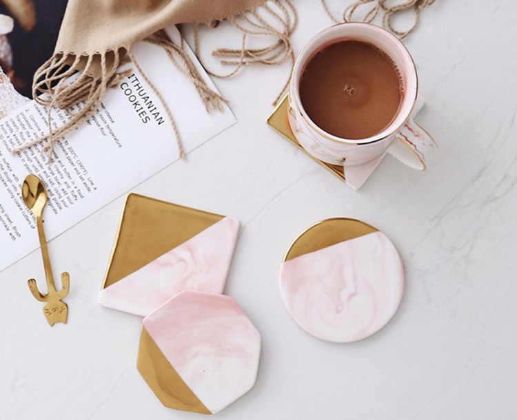 Marble Gold Coasters Ceramic Coaster Tea Cup Pad Table Mat Round