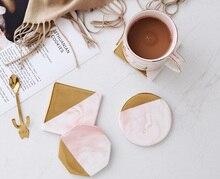 Мраморные золотые подставки керамические накладки чайная чашка Настольный коврик круглый Coaster кофейные подставки под чашки 1 шт