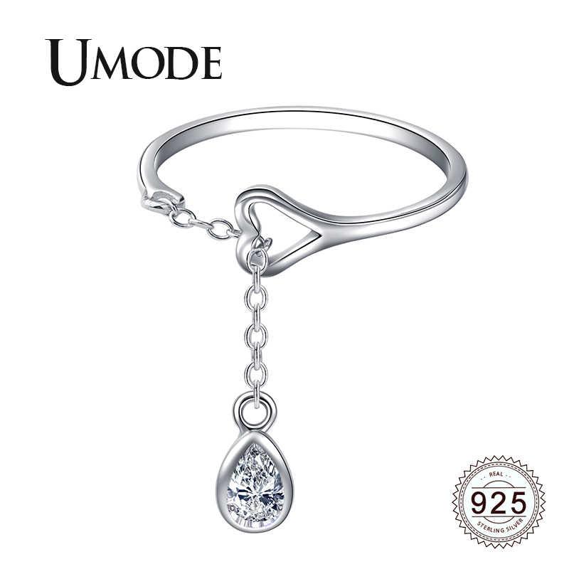 UMODE Waterdrop 925 เงินสเตอร์ลิงแหวนเปิดปรับ S925 แหวนแฟชั่นเครื่องประดับงานแต่งงานอุปกรณ์เสริม LR0742