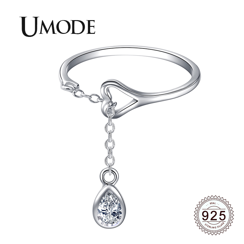 UMODE Waterdrop 925 Sterling Silver Rings for Women Open Adjustable S925 Rings Fashion Party Wedding Jewelry Accessories LR0742(China)
