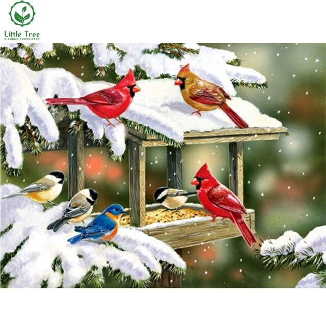 Ручной работы в стиле пэчворк с изображением животных Сделай Сам алмаз живопись зима птицы закуски кристалл вышивка крестом украшения картина
