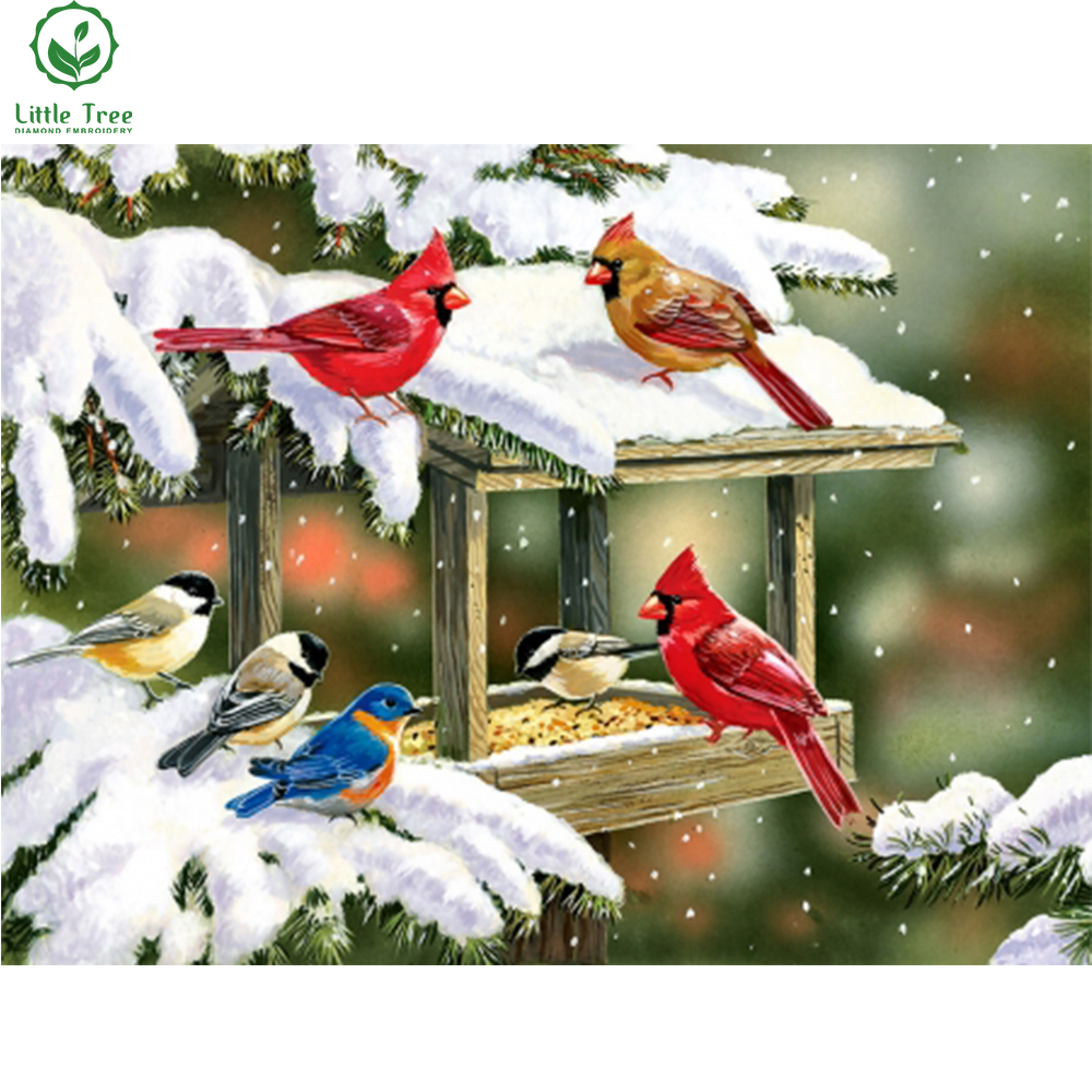 handmade patchwork animal pattern diy diamond painting winter birds snacks crystal embroidery cross stitch decoration picture