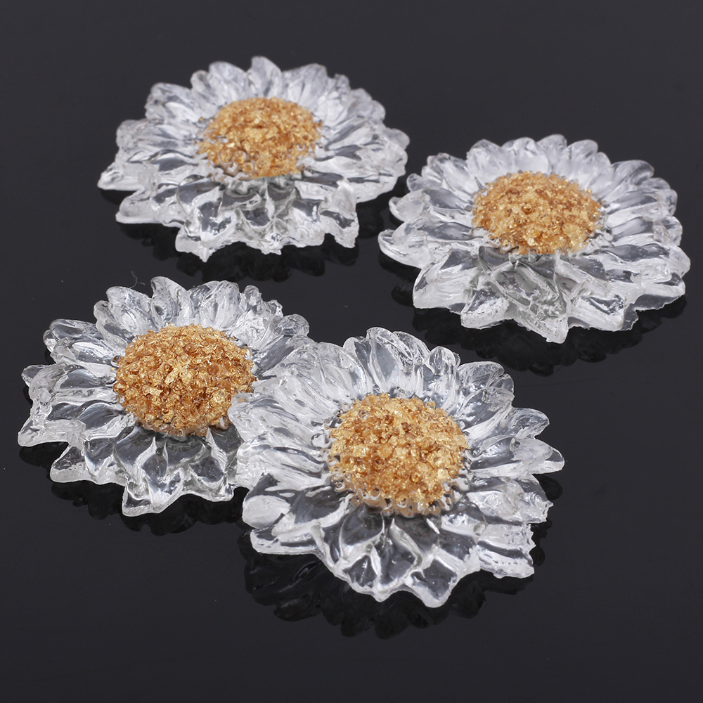 GDFSY 2pcs/lot Resin Flowers Earring Brooch DIY Accessories for Jewelry S015