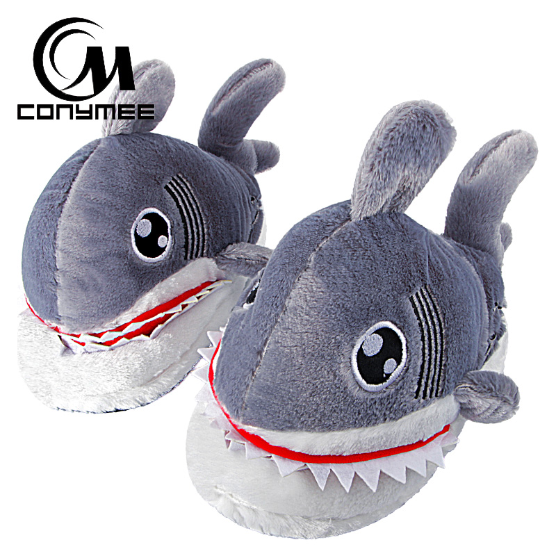 CONYMEE Women Winter Home Slippers Cute Animal Shark Funny Shoes For Men/Women Indoor Floor Warm Plush Slipper Fur Slippers qweek women home animal slippers fur indoor rabbit slippers warm ladies cute funny adult slippers female slide house shoes