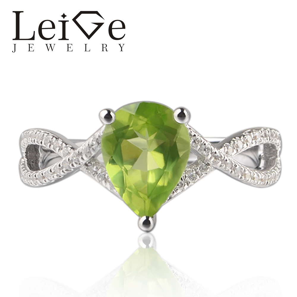 Leige Jewelry Natural Peridot Green Color Gemstone Pear Cut Prong Setting Rings Classic Gift For Woman Fine JewelryLeige Jewelry Natural Peridot Green Color Gemstone Pear Cut Prong Setting Rings Classic Gift For Woman Fine Jewelry