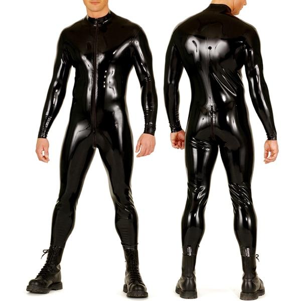 0.8mm Lourd Noir Uniforme de Latex Hommes Catsuit Latex Corps En Caoutchouc-Costume Avec Latex Chaussettes Avant Zippée