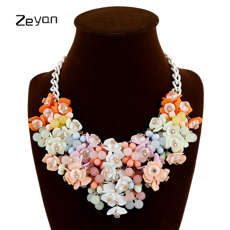 Zeyan Bohemia Maxi Colorful Flower Choker Necklace 2017 New Fashion Statement Necklace For Women Party Jewelry