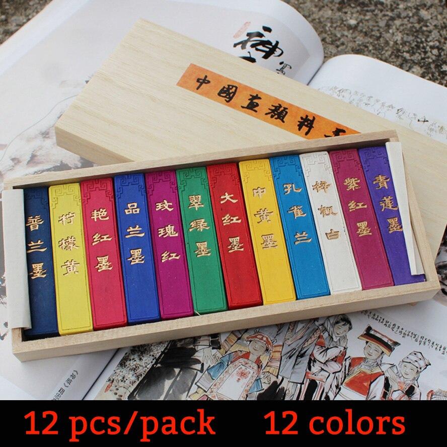 12 pièces/ensemble peinture chinoise coloré encre bâton peinture hukaiwen calligraphie brosse Inker eau couleur peinture approvisionnement