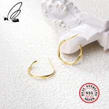 Gold Color Hoop Earrings 925 Sterling Silver Aros Plata Mujer Pendientes Boucle D'oreille Femme 2019 Women Accessories Jewellery hfyk 925 sterling silver earrings 2019 gold love heart hoop earrings for women pendientes mujer oorbellen aros de plata ley 925