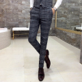 Fall 2017 men's casual pants Plaid pants fashion elegant business suit Handsome Slim Men's high quality party dress