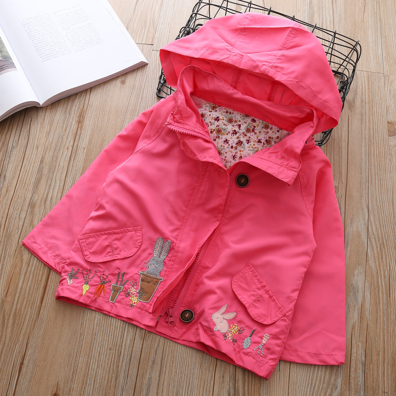 Baby Girl hoodies infant jackets coat for Girls Cartoon rabbit Spring Autumn outerwear Children's Coat Kids Trench coats 1-6year