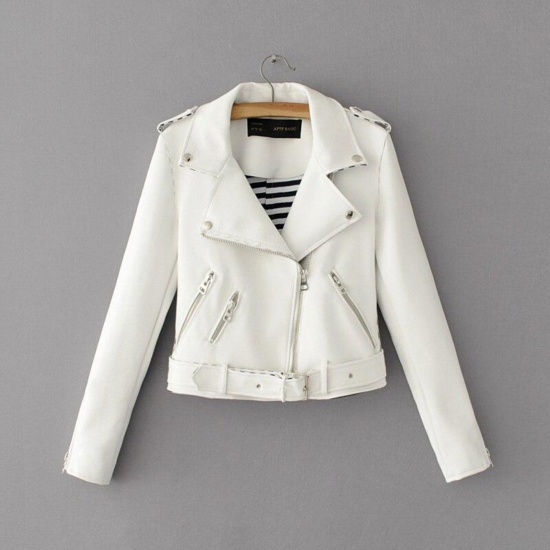 Fashion mandarin collar womens jackets black pink white leather clothing slim motorcycle leather jacket women outerwear coats