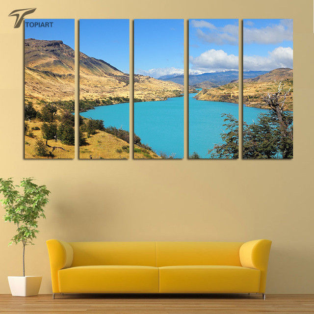 5 panel canvas painting set blue lake nature scenery wall pictures