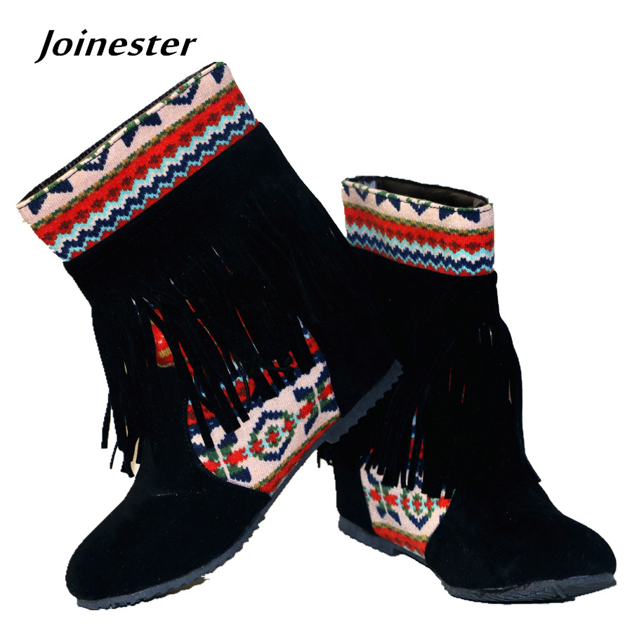Spring Autumn Women s Beloved Chinese Ethnic Style Ankle font b Boots b font with Bohemia
