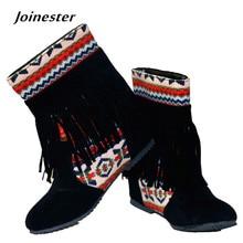Демисезонный Для женщин любимой в китайском этническом Стиль Ботильоны с Bohemia Бисер и кисточкой резиновая подошва круглый носок Повседневное обуви