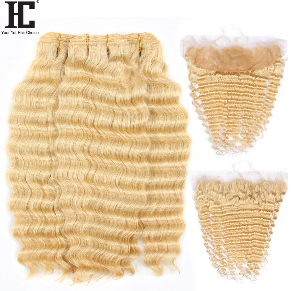 HC 613 Bundles With Frontal Russian Loose Deep Wave Blonde Human Hair Bundles With Frontal Lace Frontal Closure With Bundle Remy image