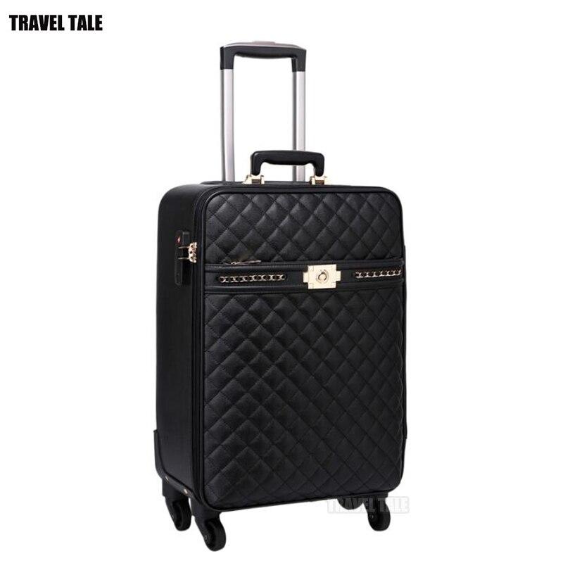 "TRAVEL TALE 16 ""20"" 24 ""นิ้วผู้หญิง spinner carry on luxury ยี่ห้อหนังรถเข็นกระเป๋าเดินทางกระเป๋าเดินทางบนล้อ-ใน กระเป๋าเดินทางแบบลาก จาก สัมภาระและกระเป๋า บน   1"