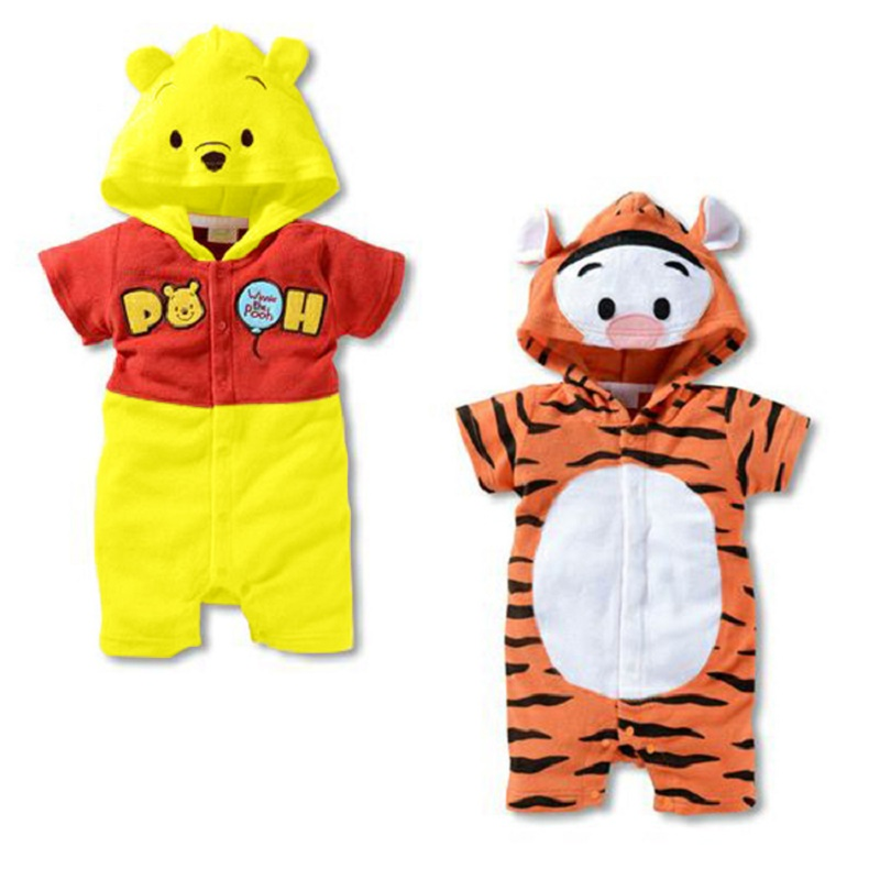 Infant Jumpsuit Newborn Baby Summer Romper Cartoon Bear Short Sleeve Hooded Baby Romper Cotton Boy clothing Tiger girl Clothes baby clothing summer infant newborn baby romper short sleeve girl boys jumpsuit new born baby clothes