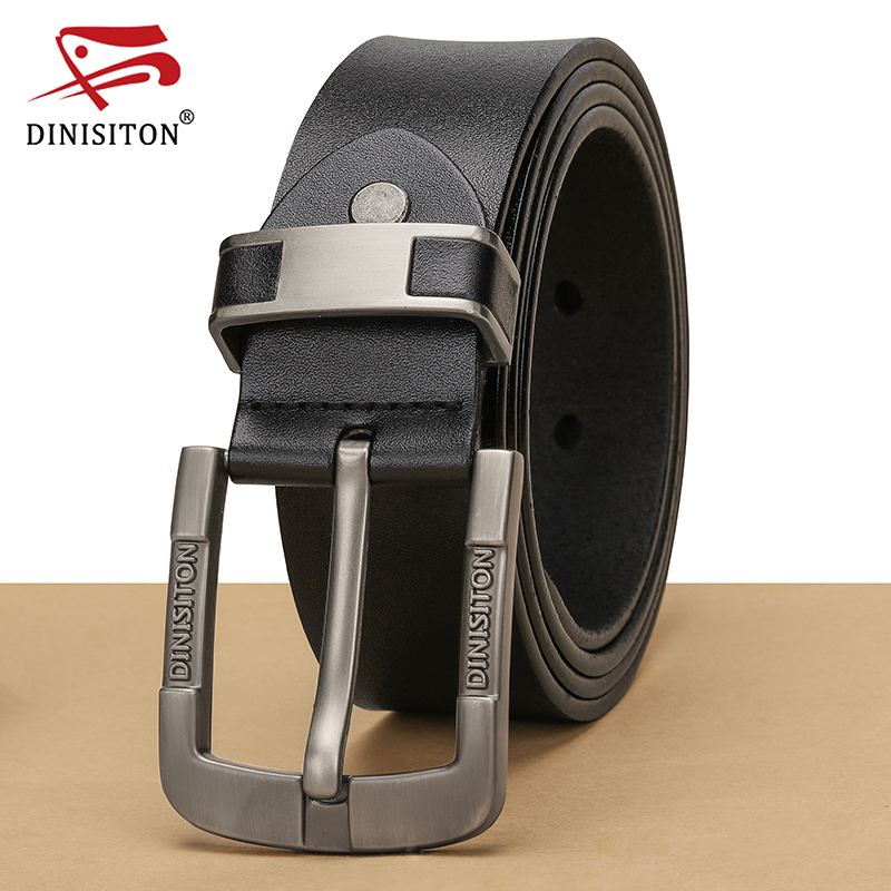 DINISITON Belt Male Genuine Leather Strap Cowhide Belts For Men Luxury High Quality Brand Pin Buckle Belts cinturon Homme