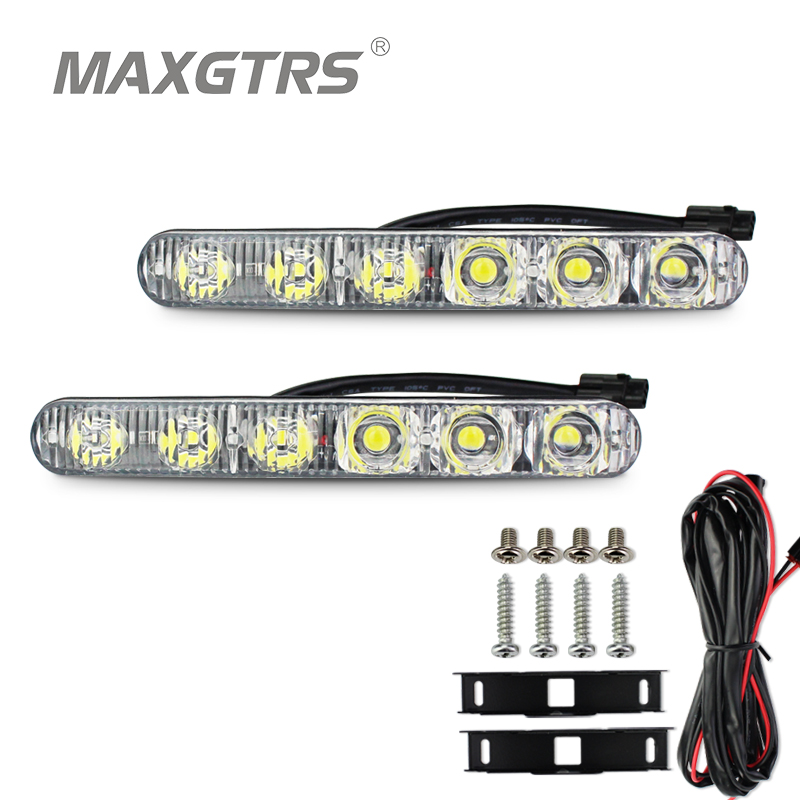 2x DRL High Power 2X6 Led 18W Led Car Light Source Light Waterproof DC12V Car Styling White/Ice Blue With Amber Turn signal