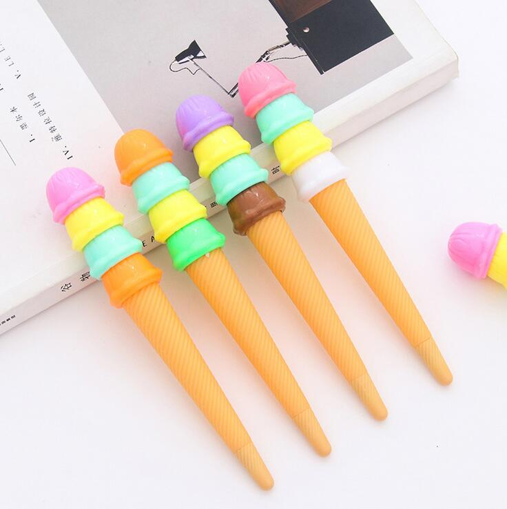 4 pcs/lot Creative Ice Cream Double Sweet Gel Ink Pen Promotional Gift Stationery School & Office Supply 6 pcs lot wuli baby animal gel ink pen promotional gift stationery school