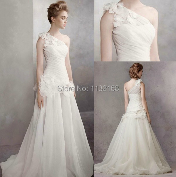 Simple One Shoulder White A Line Organza Wedding Dresses Gown