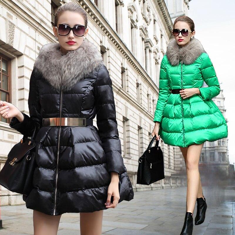 New Fashion Women Winter Coat Women's  New Luxury Fur Collar Girls Long Jacket Black Size S-XL Free Shipping B094 2014 autumn and winter women s fashion sexy new luxury fur collar jacket leopard fur coat was thin waist