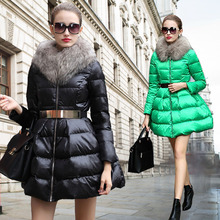 New Fashion Women Winter Coat Women's  New Luxury Fur Collar DOWN  Girls Long Jacket Black Size S-XL Free Shipping B094