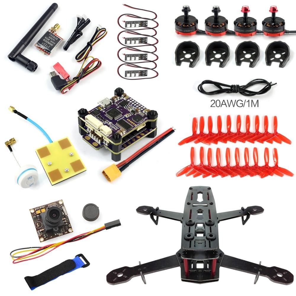 DIY 250 Racer FPV Drone 250mm Quadcopter Glass Fiber Frame PNP S-Tower Flight Control 700TVL Camera Motor ESC No TX RX F09206-E